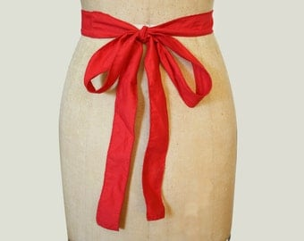 Red Cotton Sash with Bow