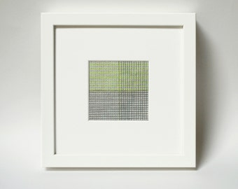 Grid Series, Grid #008, Original Modern Fiber Art, Small Modern Art Quilt for the wall, Grey Geometric Art