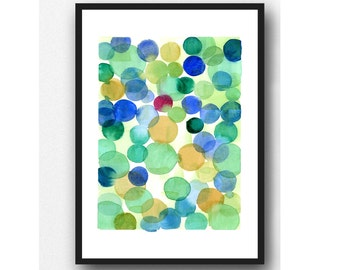 Blue green painting, abstract watercolor painting, watercolor print modern wall art  Abstract print