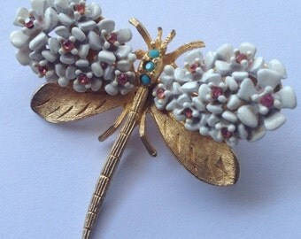 ON SALE Vintage SA Dragonfly Brooch