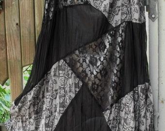 Vintage Black Lace and Nylon 2X Skirt/ Fully Lined Lace, Poly and Nylon Plus Size Skirt/ ShabbyFab