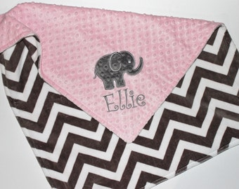 Personalized Baby Blanket, Elephant Blanket, Double Minky Blanket, Elephant Applique, Gray Chevron and Light Baby Pink