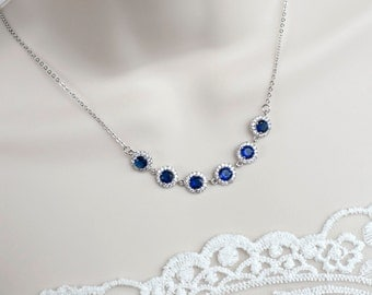 Bridal Necklace, Cubic Zirconia Blue Sapphire Necklace, Something Blue Necklace, Wedding Bridal Jewelry, Sapphire Cubic Zirconia Necklace