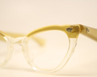 Unused Vintage Lucite Cat Eye Glasses Gold Fade Authentic 1960's Frames