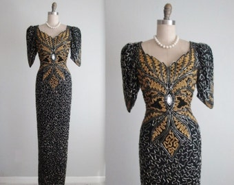 80's Beaded Trophy Dress // Vintage 1980's Ornate Gold Black Beaded Cocktail Party Evening Trophy Dress S