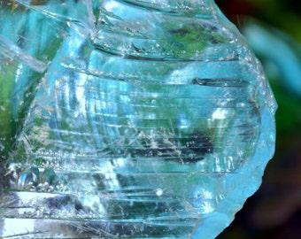 Lovely Chunk of Swirly Aqua Marine Blue Translucent Cullet Slag Glass: 11oz Garden / Terrarium / Aquarium / Window Suncatcher / Paperweight