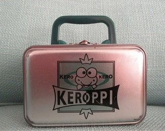 Sanrio KEROPPI Tin Case box with handle - 90's - PLEASE READ