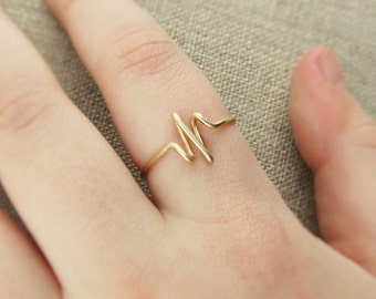 Heartbeat Ring, 14K Gold Filled or Sterling Filled Silver Wire Wrap Ring, EKG, Pulse, Nurse Gift Doctor Gift Bride Girlfriend, Ring Under 10