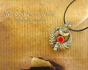 Winged Isis /Auset Symbolic Amulet - Egyptian Goddess - Handcrafted with Throne, Ceramic Solar Disc and Wing Motif - Brass Patina Finish