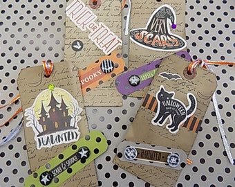 Halloween Inspired Hang Tags - Tea Dyed - set of 4 - Black Cat - Haunted House