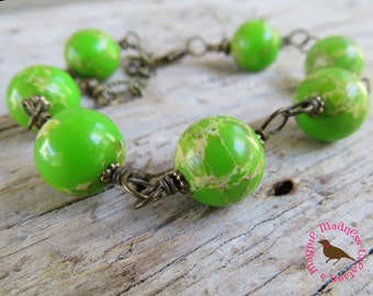 Bright Lime Green Bracelet, Lime Turquoise Bracelet, Lime Green Wire Wrap Brass Bracelet, Bright Lime Bracelet, by MagpieMadness for Etsy