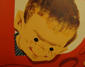 """Vtg """"Worlds Largest Christmas Card"""" Noel 60"""" by 20"""" Door sized Greeting Card Edward Deutsch Litho 1957"""