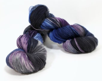 Hand Dyed Sock Yarn superwash Celeste in Cobalt Mix yarn superwash merino nylon