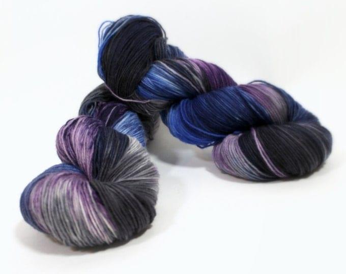 Hand Dyed Sock Yarn superwash Celeste in Cobalt Mix yarn superwash merino nylon