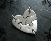 Puzzle Piece Necklace - 3 Sister Necklace - Heart Puzzle - 3 Best Friend Necklace - Sterling Silver Item HPSS3