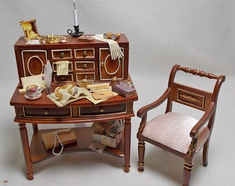 Dollhouse Miniature Filled Quality Desk and JiaYi Chair