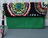 Fold Over Envelope Clutch Purse Bag, with Wristlet Strap & Zipper Closure - Green, black, pink and yellow spiral design