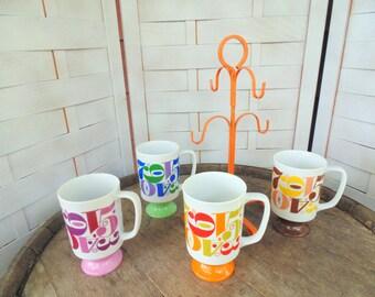 Royal Crown Mugs. Tall Pedestal MUG. Mugs & Mug Tree. Numbers Mug. set of mugs. ROULETTE Mug. 1970s Mod Decor. 1970s MUG Tree. gift idea.