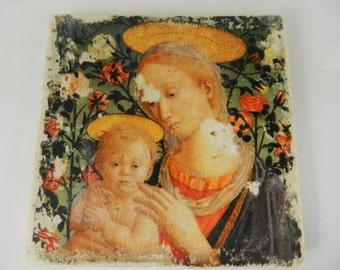 Stone  Religious Art Virgin Mary Blessed Mother Child Jesus Christian Home Decor