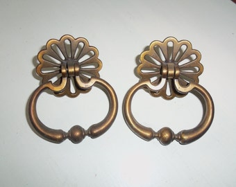 Pair of Large, Heavy, Solid Brass Drawer Pulls, Vintage
