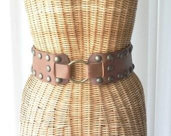 Belt Hip Harness Leather Brass Rivets Split Ring Back Italy NOS Medium