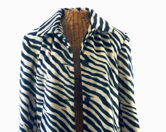 Allen Schwartz for A.B.S. Zebra Car Coat Jacket New Old Stock Size 14