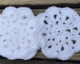 Crocheted white cotton coasters set of 4