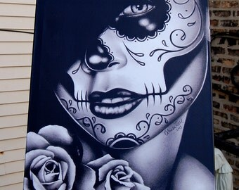 30x40 in HUGE Stretched Canvas Print - Lolita - Black and White Day of the Dead Sugar Skull Girl