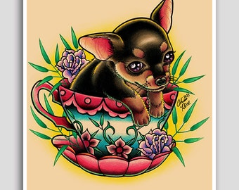 18x24 inch Hand Signed Poster Print - Tea Cup Pup by Carissa Rose - Adorable Teacup Chihuahua Puppy Tattoo Flash Art Drawing Wall Art