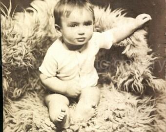 Digital Download, Baby Sheepskin Rug, Vintage Photo, Black & White Photo, Childhood, Found Photo, Antique Photo, Printable