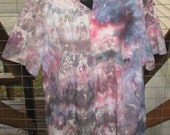 Tie Dye - Ice Dyed - Upcycled-Recycled - Button Up Short Sleeve Shirt - Mens Size 16.5 - Unisex - Multi Color - Ready to Ship - Casual Shirt