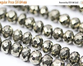VALENTINE SALE 55% Natural Pyrite Faceted Israel Cut Roundel Beads Strand, 10 inches, 5mm, SKU1374/S