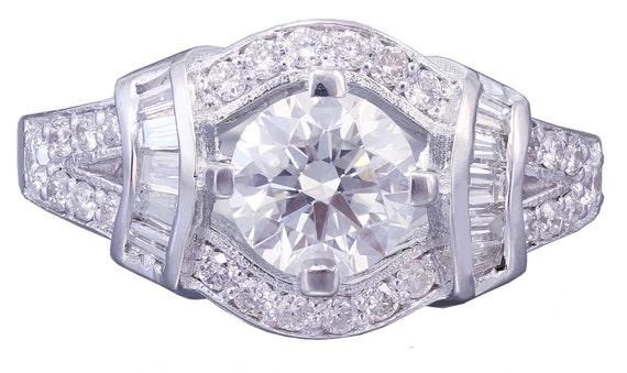 18k white gold round cut diamond engagement ring deco 1.65ctw G-SI1 EGL USA
