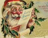 RESERVED LISTING (SABINE) Santa Reading List of Births Political Vintage Christmas Postcard – Brightly Colored and Beautifully Embossed