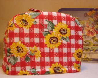 ARTI Toaster cover RED check with Sunflowers, for 2 slice Toastmaster with bagel setting