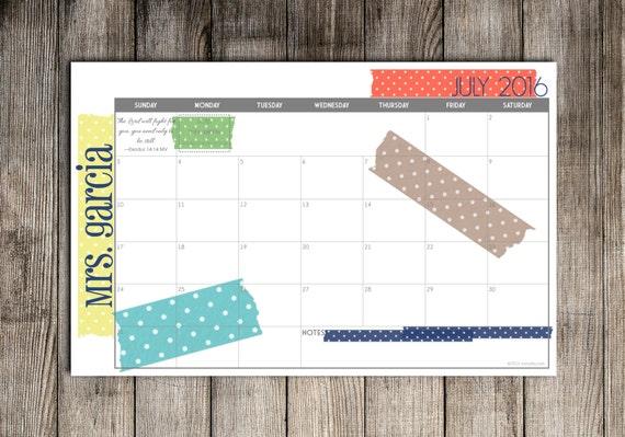 Blank Calendar Desk Pad : Digital printable diy custom desk calendar