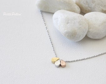 Teardrops Necklace in Silver/ Gold. Triple Teardrop Necklace. Everyday Wear. Birthday. Christmas. Gift For Her (PPNL-85)