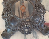 Vintage Ornate Rusty Iron Lamp Base - Assemblage Supply - Steampunk Ornate Antique Base - Funky Metal Rusty