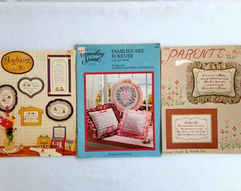 Vintage – Family, Parents, and Neighbors Counted Cross Stitch Books – Set of 3