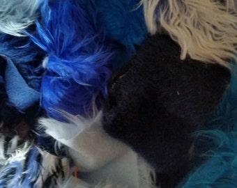 Faux Fur Scraps in a One Gallon Bag Assorted BLUE Colors