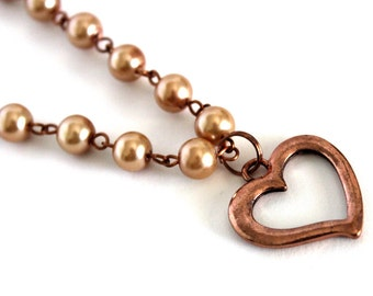 Copper Heart & Pearl Necklace