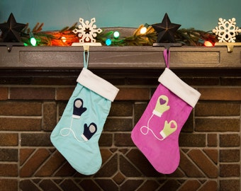 Mittens Twins Set Christmas Stocking - Children's Stocking - Free Personalized Option