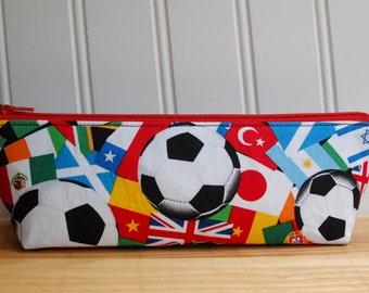 Soccer Pencil Case, Triangle Pencil Case, Sports School Supplies, Back to School, College Supplies, Pencil Zipper Pouch, Cosmetic Bag