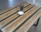 Dramatic Striped Table READY TO SHIP Reclaimed Wood Dining Table Wood Table