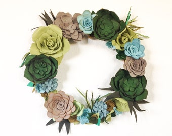 Felt Succulents Wreath / Felt Wreath / Color floral wreath / home decor / front door