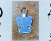 Blue Elephant Embroidered Key Fob, Key Chain, Luggage Tag, Bag Clip, Vinyl, Key Ring, Purse Charm