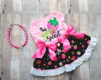 Dog Dress - I'm Berry Sweet embroidery - Strawberry Dress - XS - Small - Medium - Custom available