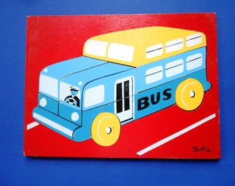 Vintage Wooden Jigsaw Puzzle, School Bus, Sifo