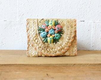 Seashells Pouch Wallet • Small Pouch • Small Straw Clutch • Souvenir Small Wallet • Beach Accessories • Small Seashell Purse | W296