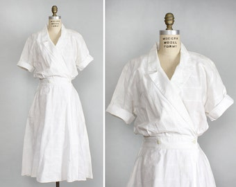 White Cotton Dress L • Wrap Dress with Pockets • Day Dress • Cotton Summer Dress • 80s Dress • Shirtdress • Short Sleeve Dress | D622